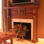faux wood fireplace with metallic gold l