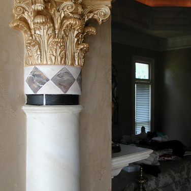 Painted faux tile and gold on column