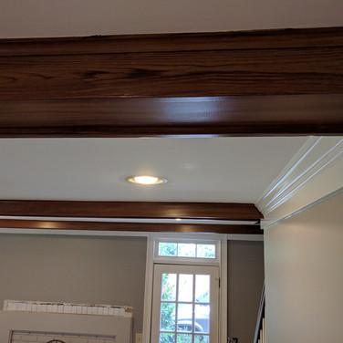 Painted faux wood beams