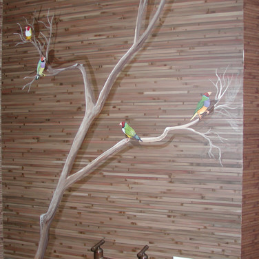 Faux Bamboo wallcovering and Finch Mural