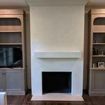 white venetian plaster on fireplace