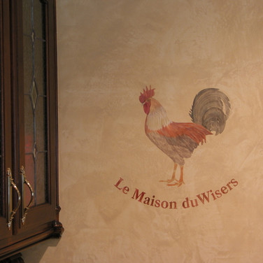 Rooster and Venetian Plaster Mural