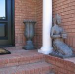 bronze planter and statue