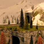 Model Train Backdrop Mural - Snow