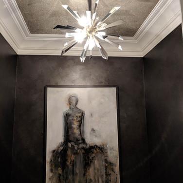 Metallic wax with glass bead ceiling