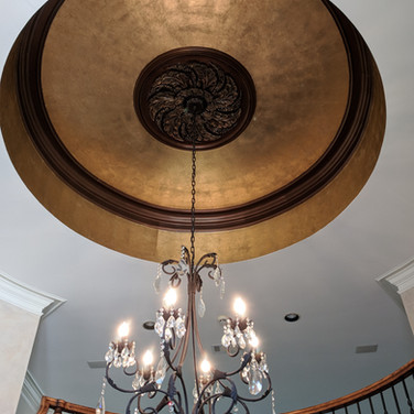 Gold Leaf Ceiling and Aged Medallion