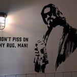 Lebowski quote mural in men's restroom