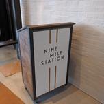 Restaurant lettering logo on hostess station