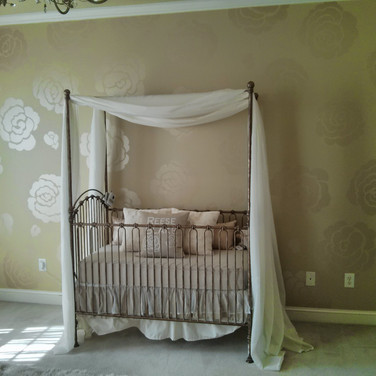 Girl's Nursery Mural in Metallics