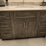 faux distressed metallic bathroom vanity