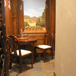 faux wood on walls and old world mural.j
