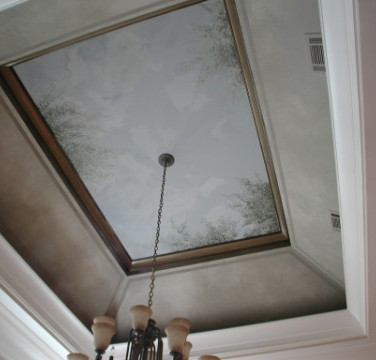 Vaulted ceiling tree mural