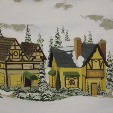 Model Train Backdrop Mural - Village