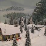 Model Train Backdrop Mural - Winter