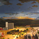 Model Train Backdrop Mural - Evening Sky