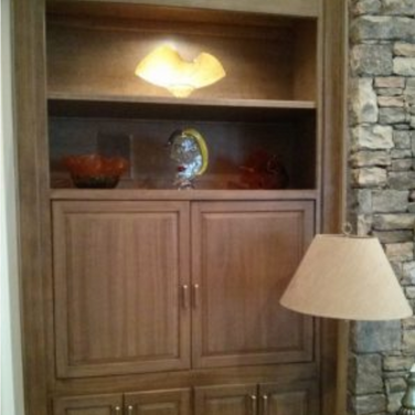Painted faux wood builtin cabinets