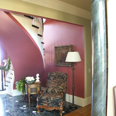 faux black marble column