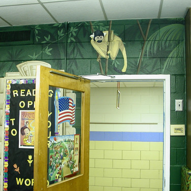 Elementary School Library Mural - Monkey