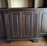 black aged builtin cabinet