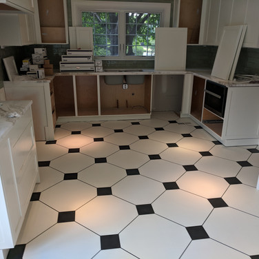 Painted diamond pattern on floor