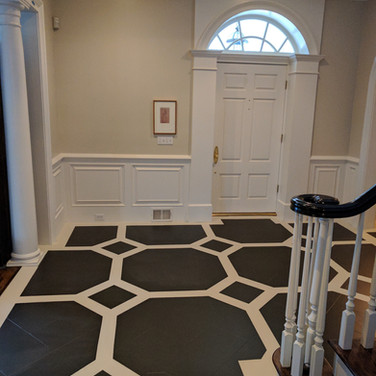 Painted Pattern over Marble Tile
