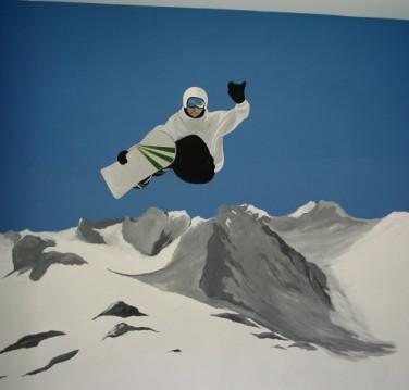 Modern Snowboard Mural