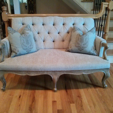 Faux wood painted sofa around frame