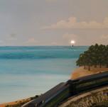 Model Train Backdrop Mural - Island
