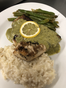 Swordfish Filet Topped with House Made Pesto