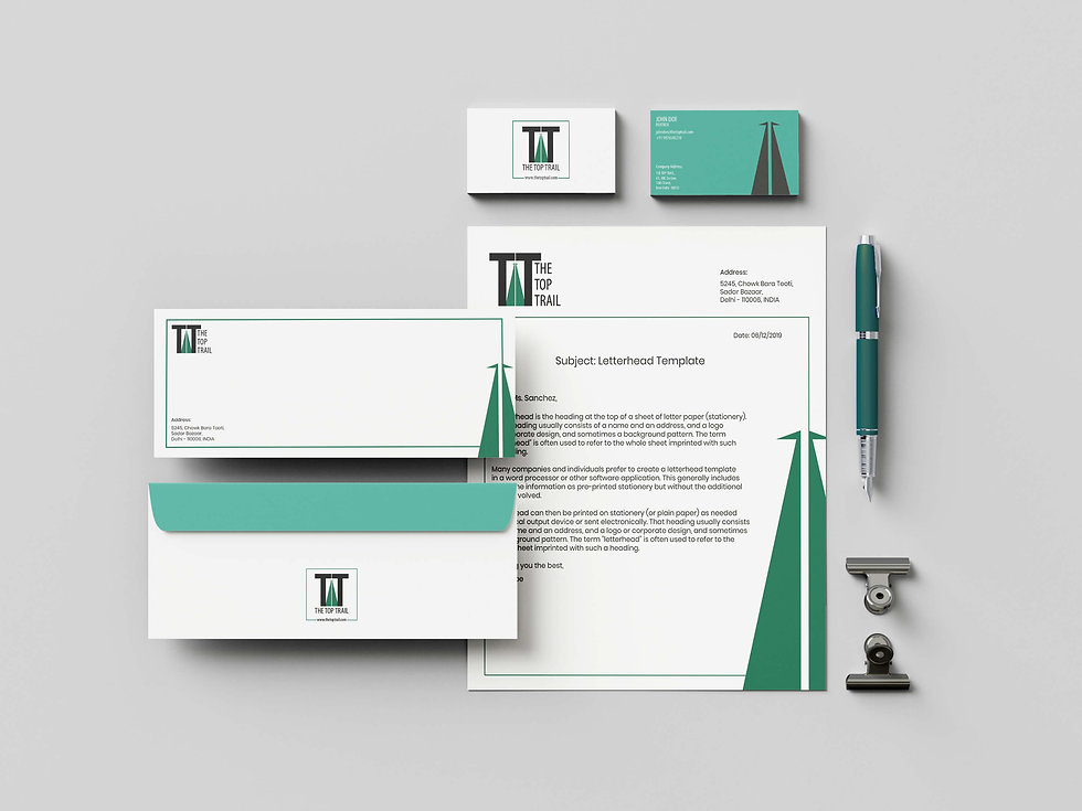 The Top Trails - Stationery