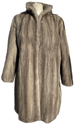 Silver Mink and Grey Woollen Suiting Reversible