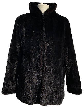 Black Mink and Black Woollen Suiting Reversible