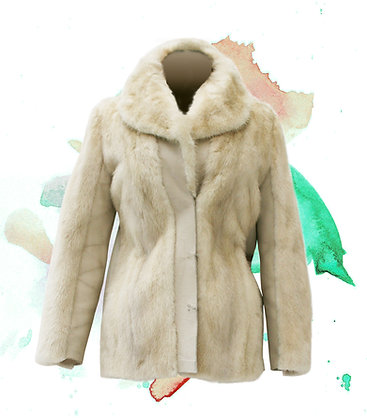 White Mink and Leather Jacket