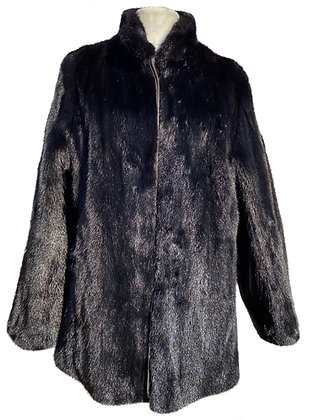 Black Mink and Leather Reversible