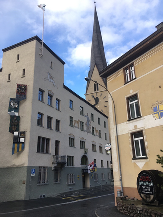 Town-hall of Davos with chirch of Johannes