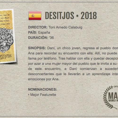 """Proyección Cortometraje """"Desitjos"""""""