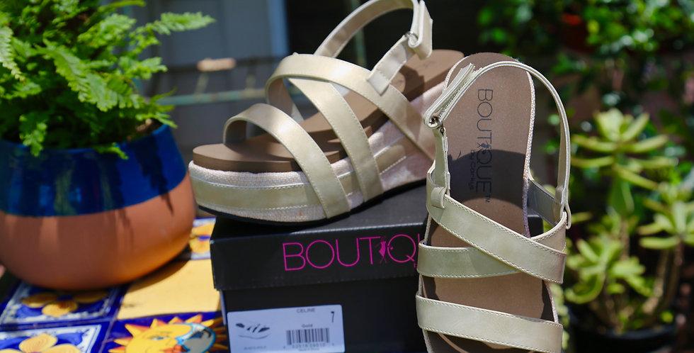"Boutique by Corkys ""Celine"" Gold Sandal Size 7"