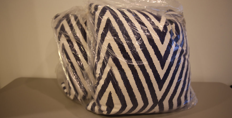 John Robshaw Navy and White Chevron Design Pillows