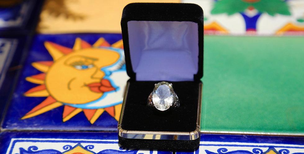 Prasiolite Silver Ring Size 8, Oval