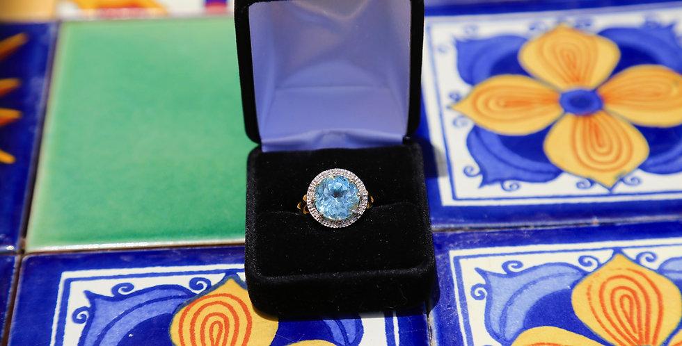 Swiss Blue Topaz and Diamonds, Size 7
