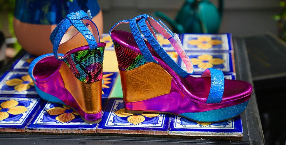 "Azalea Wang ""Parker"" Wedge Sandal Size 6.5 Multi"