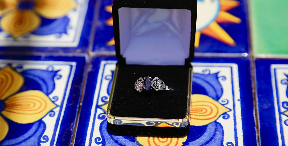 Blue Sapphire Platinum over Silver Ring Size 7, Marquise