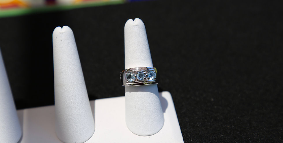 Swiss Blue Topaz White Gold Rhodium over Sterling Silver ring, Size 8