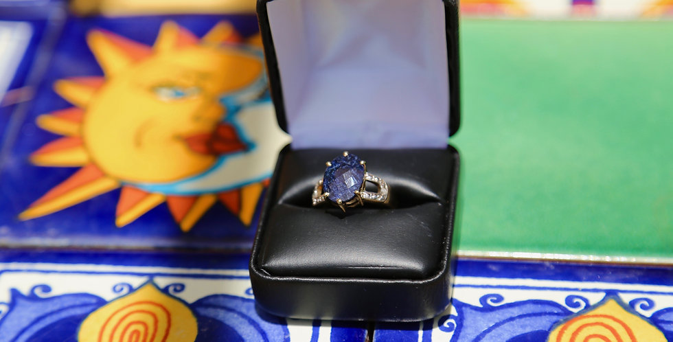 Sapphire and Diamond 14K Gold over Sterling Silver ring Size 7