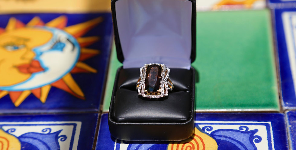 Marcel Drucker Smoky Quartz and Diamond 14K Gold over Sterling Silver Size 8