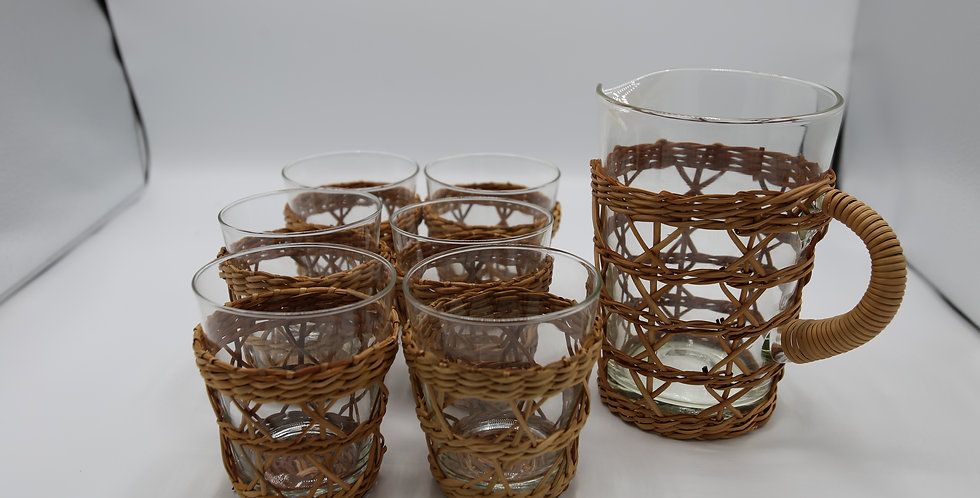 Rattan and Glass Pitcher and 6 Glasses