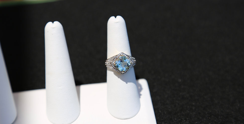 Swiss Blue Topaz and Diamonds 14K Yellow Gold Plating, Ring Size 7, Cushion
