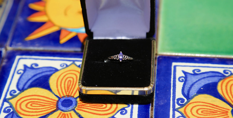 Tanzanite Platinum over Silver Ring Size 7, Marquise