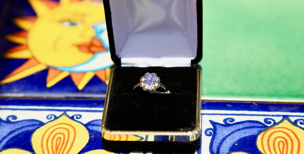 Tanzanite Platinum over Silver Ring Size 7, Oval