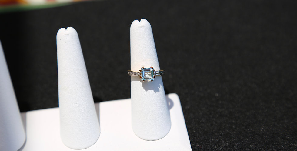 Swiss Blue Topaz and Diamond ring, Size 7